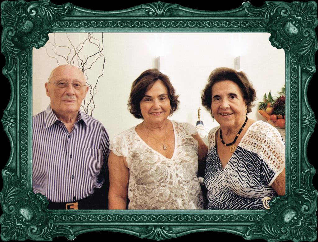 Osvaldo Pontes e Alzira, ladeando Miriam Férrer, viúva Zenilo Almada